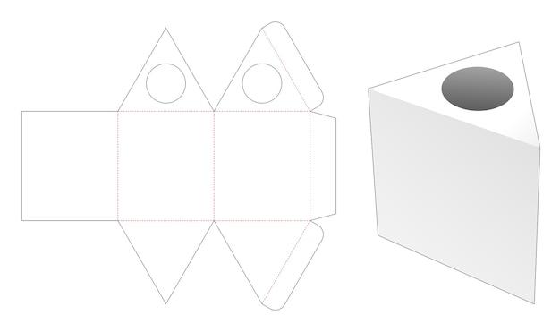 Triangular shaped tissue box die cut template