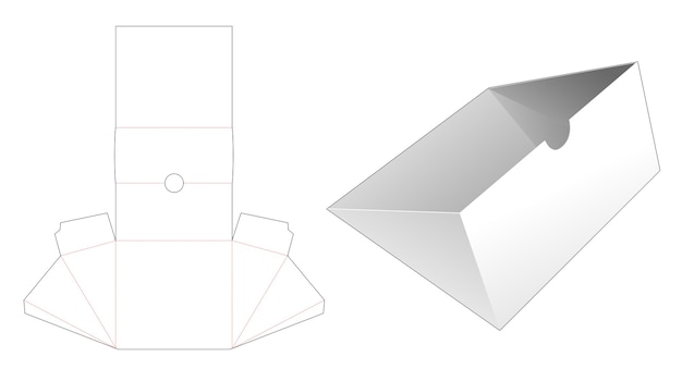 Triangular shaped tray die cut template