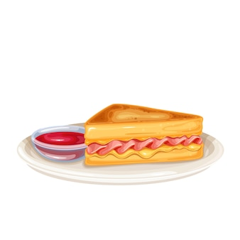 Triangular tall sandwich with grilled cheese and ham, fried in egg on a plate with jam.