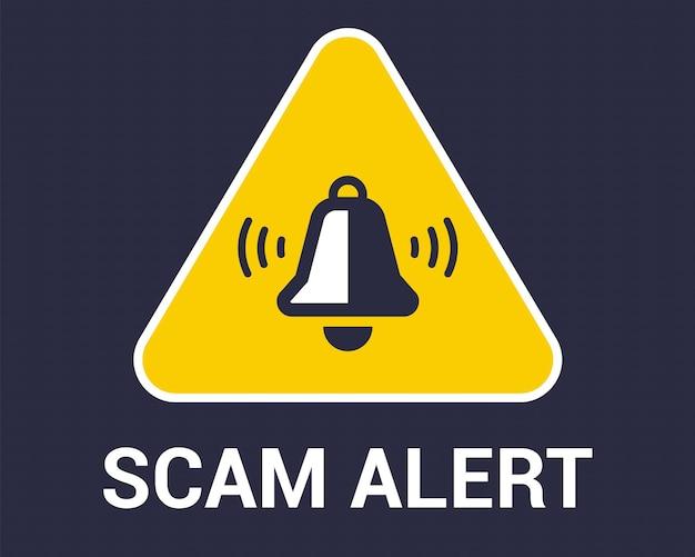 삼각형 노란색 사기 경고 기호입니다. 안전한 인터넷 사용. 평면 벡터 일러스트 레이 션.