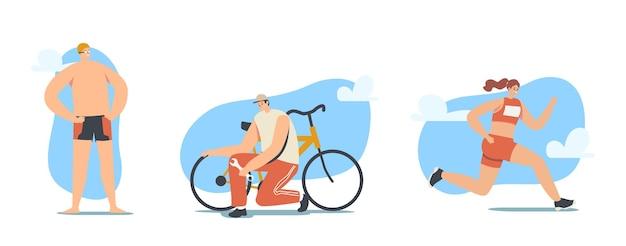 トライアスロン競技コンセプト。トライアスリートの男性と女性のキャラクターが国際スポーツトーナメント中に走ったり、サイクリングしたり、水泳をしたりします。健康的なスポーツライフスタイル。漫画の人々のベクトル図