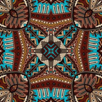 部族のアフリカの抽象的な幾何学的なタイル ボヘミアン エスニック シームレス パターン装飾的な手描きの遊牧民のグラフィック プリント