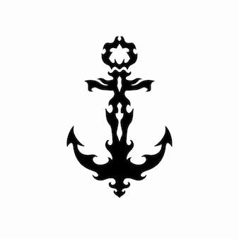 Tribal anchor logo tattoo design stencil vector illustration