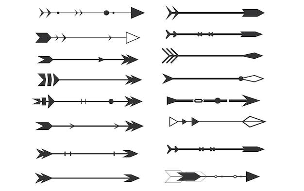 흰색 배경에 부족 화살표 아즈텍 boho 요소 복고풍 arrowvector 그림 세트