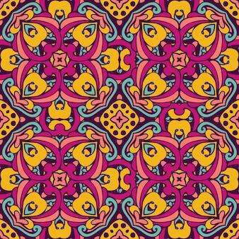 部族芸術ボヘミアシームレスパターン。エスニックな幾何学模様。カラフルな繰り返し背景テクスチャ。生地、布のデザイン、壁紙、ラッピング