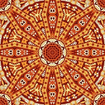 トライバルアートボヘミアシームレスパターンエスニック幾何学模様インド秋
