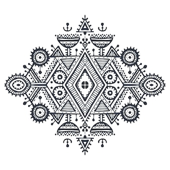 Tribal art boho hand drawn geometric pattern. ethnic vector print in black and white for fabric, cloth design, t-shirts, wrapping