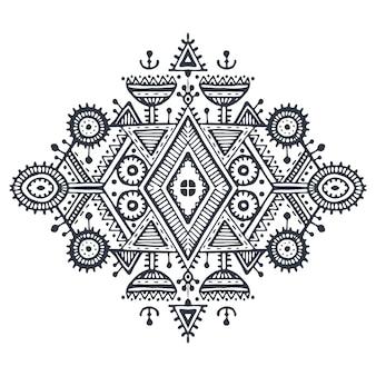 部族芸術自由奔放に生きる手描きの幾何学模様。生地、布のデザイン、tシャツ、ラッピング用の白黒のエスニックベクタープリント