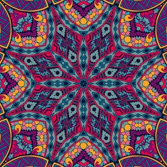 トライバルアート自由奔放に生きるシームレスパターンエスニック幾何学模様