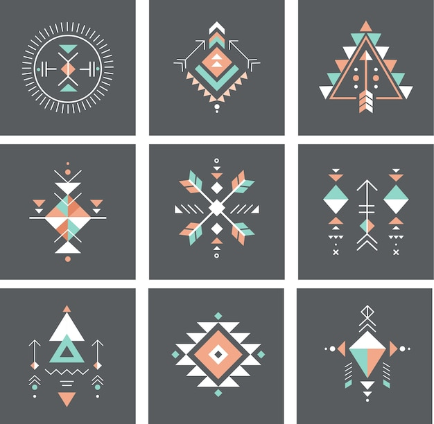 Tribal and aztec elements set