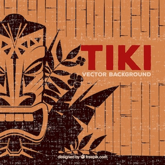Tribal background with tiki mask