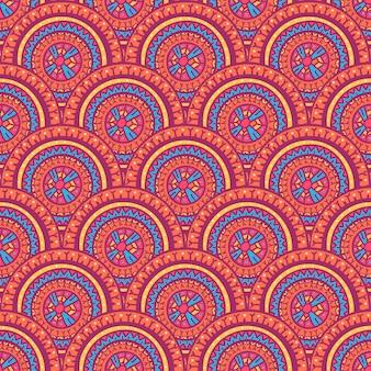 部族の美しい抽象的なシームレスなカラフルな丸い模様