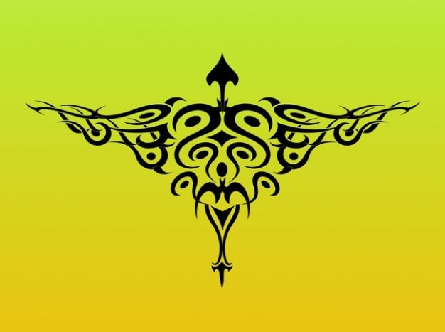 Tribal bird wings tattoo graphics