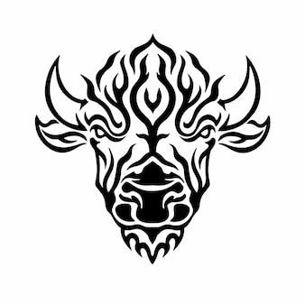 部族バイソンヘッドロゴタトゥーデザインステンシルベクトル図