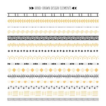 부족 브러쉬. 손으로 그린 민족 장식품, 아즈텍 패턴 및 hipster 장식 테두리 브러쉬 세트