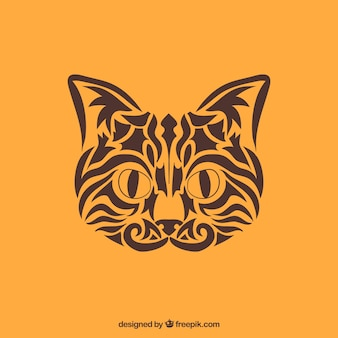 Tribal cat vector. Cat face made with tribals