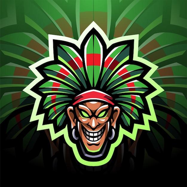 Tribal chief head esport mascot logo