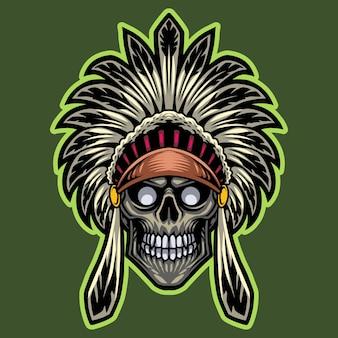部族長スカルヘッドeスポーツマスコットロゴ