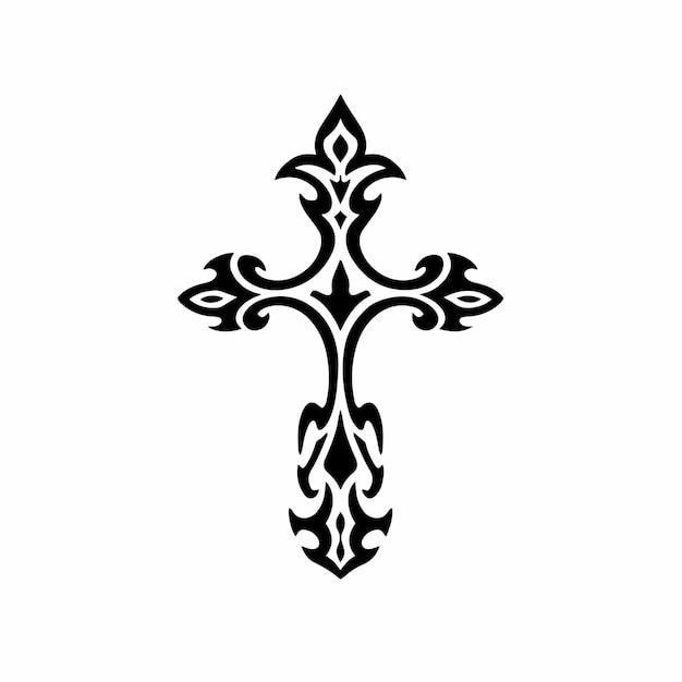 Tribal christian cross logo tattoo design stencil vector illustration