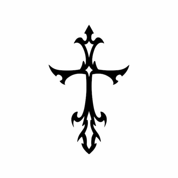 部族キリスト教の十字架ロゴタトゥーデザインステンシルベクトル図