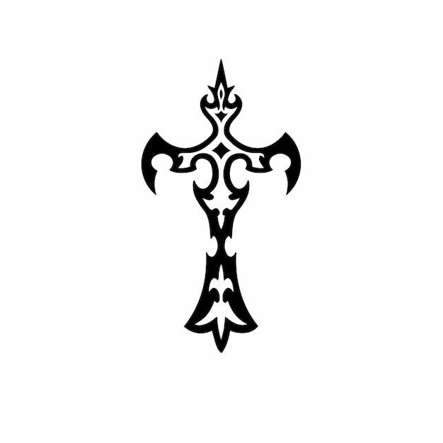 부족 기독교 십자가 로고 문신 디자인 스텐실 벡터 일러스트 레이 션