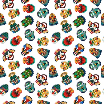 Tribal colorful masks seamless pattern