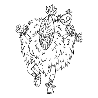Tribal dancer. coloring page.