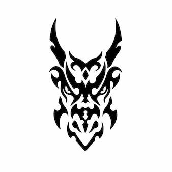 Племенной дракон голова логотип дизайн татуировки трафарет векторные иллюстрации