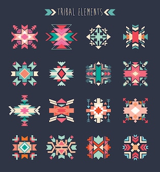 Tribal elements set, a collection of geometric ethnic elements