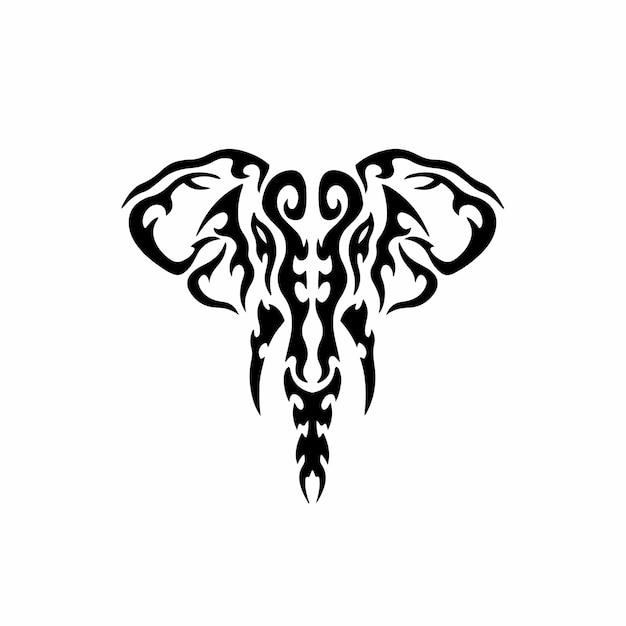 部族の象のロゴタトゥーデザインステンシルベクトル図