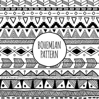 トライバル民族のモノクロのボヘミアンパターンと幾何学的要素のデザイン