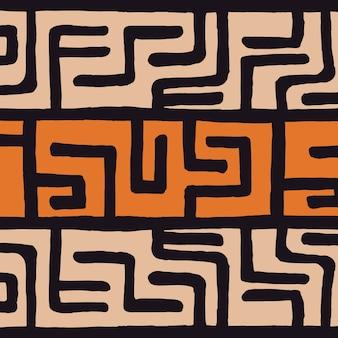 幾何学的要素、アフリカの泥布、部族のデザインと部族民族カラフルなボヘミアンパターン