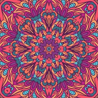 シームレスな部族民族インディアン。お祝いのカラフルな曼荼羅アートパターン。幾何学的なメダリオンファンタジー自由奔放に生きる花。サイケデリックフェスティバル