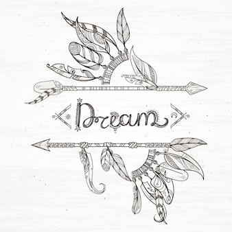 部族の羽と矢。自由奔放に生きるスタイルで手描きイラストの背景。矢印と羽のヴィンテージ手描きスタイル