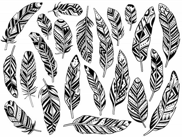 Tribal feathers set decoration.