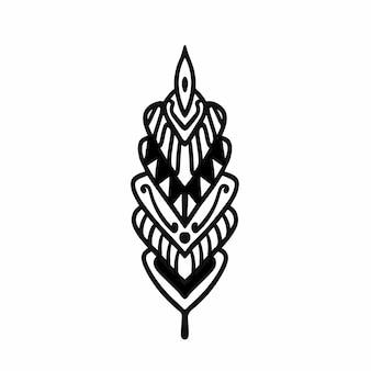 部族の花のロゴのタトゥーデザインステンシルベクトル図