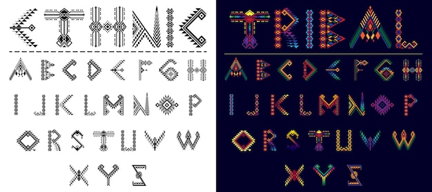 Tribal font ethnic alphabet