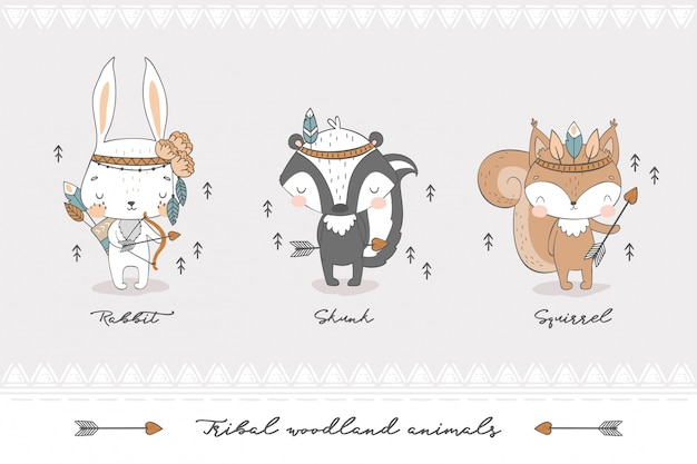 Tribal forest animal collection.