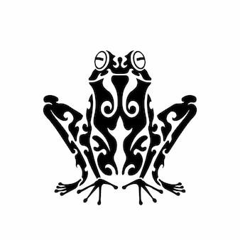 부족 개구리 로고 문신 디자인 스텐실 벡터 일러스트 레이 션