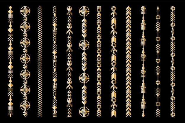 Племенной геометрический золотой узор. бохо ювелирное украшение. векторный дизайн для наклеек, тату, ботинок, сумки, футболки.