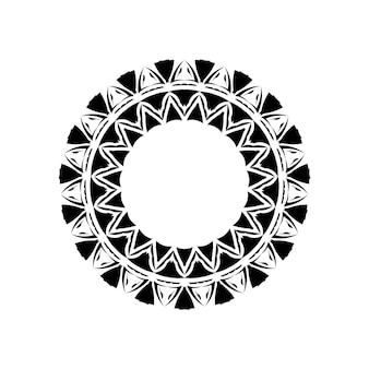 Tribal geometric mandala vector design, polynesian hawaiian tattoo style pattern with waves, triangles and abstract shapes. boho mandala illustration in black and white, hippie round design
