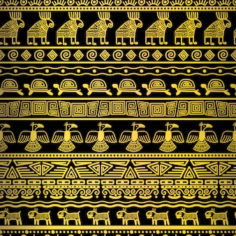 Tribal gold seamless pattern with mexican texture