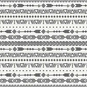 Tribal hand drawn line mexican ethnic seamless pattern.