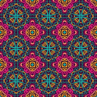 Tribal indian flower ethnic seamless design. festive colorful mandala pattern ornament