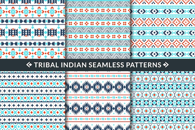 Tribal indian seamless patterns illustration