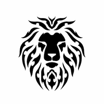 Tribal lion head logo tattoo design stencil vector illustration