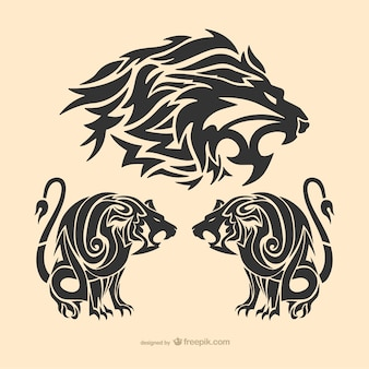 Tribal lion tattoo