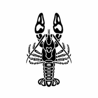 Племенной лобстер логотип тату дизайн трафарет векторные иллюстрации