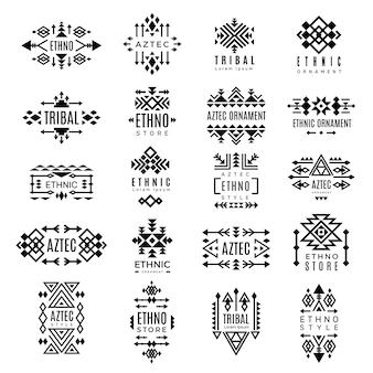 部族のロゴタイプ。アステカ族のネイティブ装飾アイデンティティ伝統的な装飾用シンボルデザイン。イラスト部族ロゴ、民族小売りのインドパターン飾りファッション