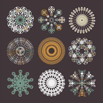 Набор племенных мандалы. абстрактный вектор круга геометрический орнамент. элемент дизайна для ткани, футболки, наклеек, сумок